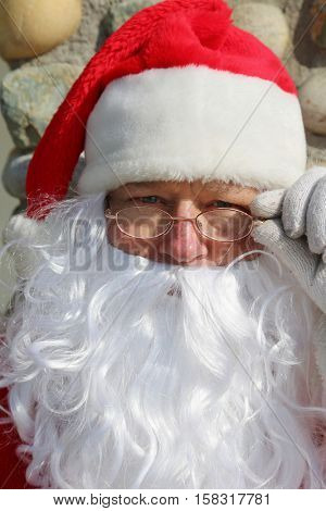 Santa Claus Head Shot. Santa Head shot. Santa Claus Studio Head shot. Head shot in black and white. Smiling Santa Claus.