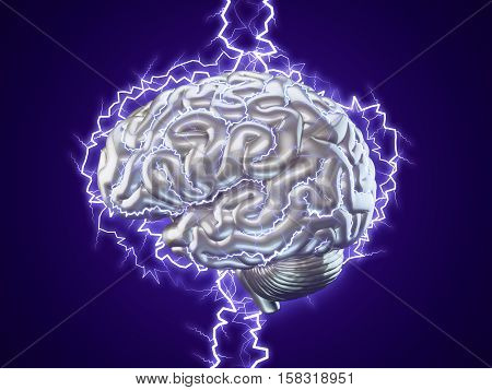 3d Illustration of human brain made of metal with lightnings isolated brainstorm concept