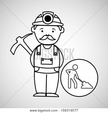 mine worker pickaxe icon design vector illustration eps 10