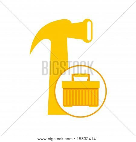 plastic tool box hammer icon vector illustration eps 10