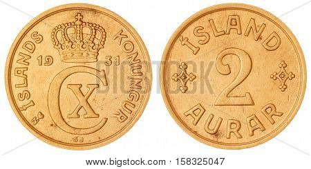 2 Aurar 1931 Coin Isolated On White Background, Iceland
