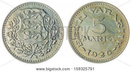 5 Marka 1926 Coin Isolated On White Background, Estonia