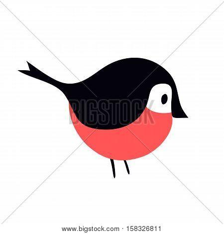 Cartoon bullfinch and winter bullfinch bird. Season bullfinch holiday christmas wild bird. Flat colorful winter nature bird. Bullfinch colorful nature winter bird pyrrhula holiday wild animal vector.