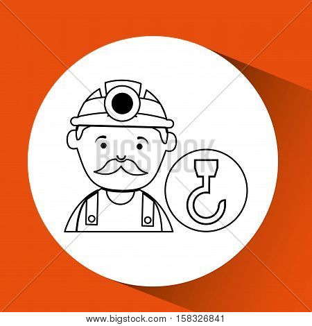 mine worker pickaxe with hook tool vector illustration eps 10
