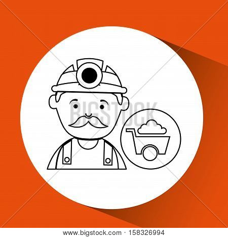 mine worker pickaxe with wheelbarrow vector illustration eps 10