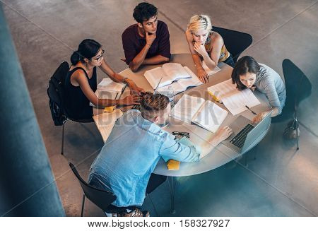 Studying Group Of Students At The Table