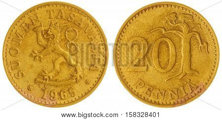 20 Pennia 1965 Coin Isolated On White Background, Finland