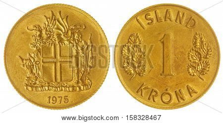 1 Krona 1975 Coin Isolated On White Background, Iceland