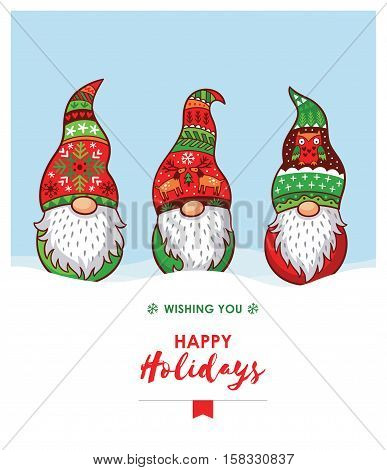 Happy Holidays card with trolls gnomes. Cute cartoon vector illustration. Christmas characters