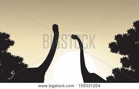 Collection of brachiosaurus landscape silhouettes vector illustration
