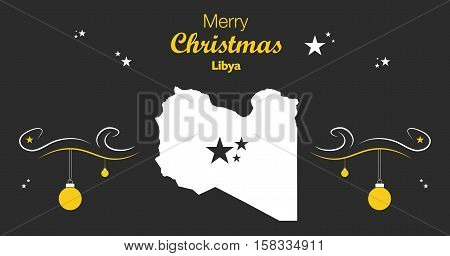 Merry Christmas Illustration Theme With Map Of Libya