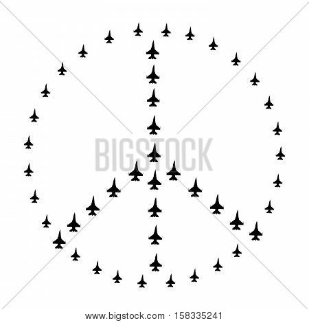 Sign pacifist peace symbol composed of flying military aircraft. Isolated black hippie sign on a white background.