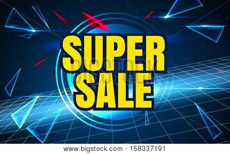 Space background sale. Big sale. Sale tag. Sale poster. Sale vector. Super Sale and special offer. 50 off. Can use for promotion.