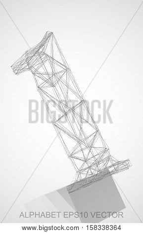 Abstract illustration of a Pencil sketched number 1 with Reflection. Hand drawn 3D 1 for your design. EPS 10 vector illustration.