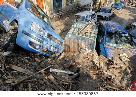 Giampilieri, Italy - October 3 2009. A landslide has invaded the Sicilian town causing many deaths. The collapse of a mountain caused hundreds of tons of earth and rock fell on buildings and cars.