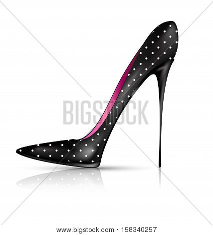 white background and the black ladys shoe