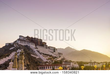 A building in Potala palace, Lhasa, Tibet. Lhasa in morning mist, Potala monastery.  Soft focus due to long exposure
