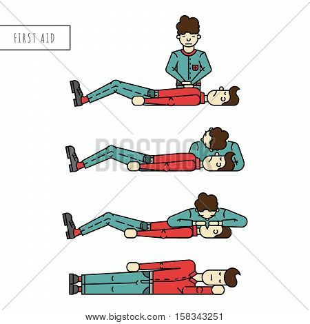 Description the phased provision of first aid. Person badly and the person who provides first aid to the victim. Scheme first aid when you stop breathing and cardiac arrest