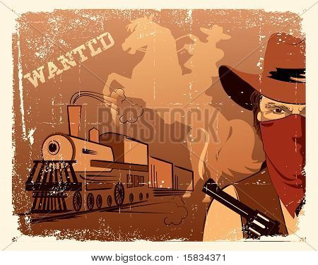 Vector Cowboy And Train.