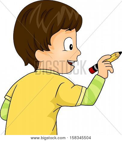 Illustration of a Cute Little Boy Using a Pencil to Write Something on an Imaginary Board