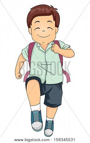 Illustration of a Cute Little Boy Marching Happily on His Way to School