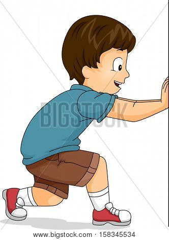 Illustration of a Cute Little Boy Struggling to Push a Giant Board to the Side