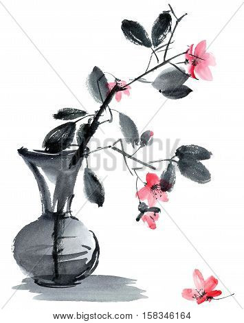 Watercolor and ink illustration of sakura flowers and leaves in vase. Sumi-e u-sin style. Oriental traditional painting.