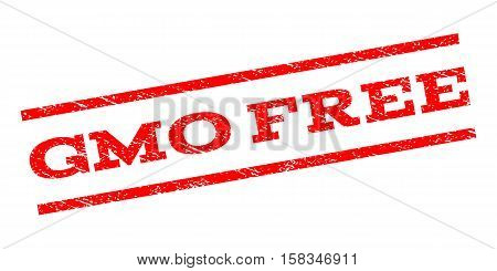 Gmo Free watermark stamp. Text tag between parallel lines with grunge design style. Rubber seal stamp with dust texture. Vector red color ink imprint on a white background.