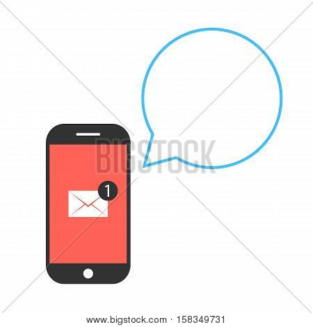 black and red smartphone with letter and speech bubble. concept of texting, messaging, connection, chatting, notification, information, newsletter. flat style trend modern design vector illustration