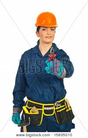Worker Woman Giving Pliers