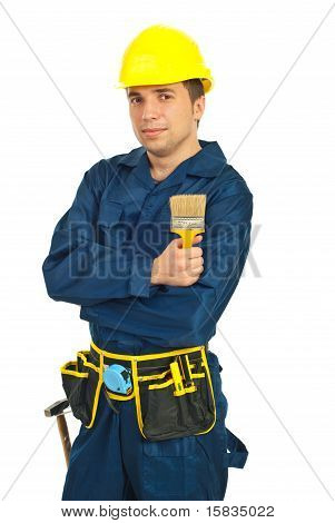 Builder Man Holding Pant Brush