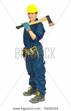 Full Length Of Worker Woman With Hatchet