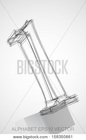 Abstract illustration of a Ink sketched number 1 with Reflection. Hand drawn 3D number 1 for your design. EPS 10 vector illustration.