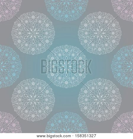 Seamless christmas pastel pattern with colorful lace snowflakes vector