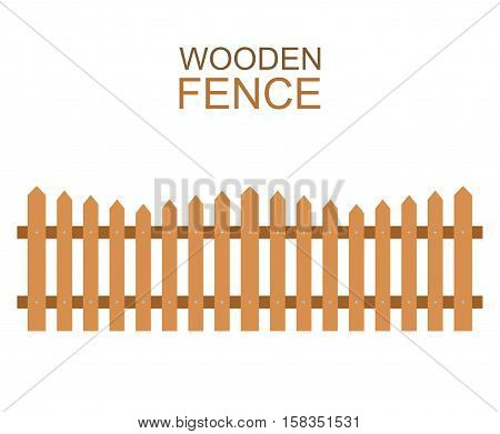 Wooden fence isolated on white background. Farm fence vector illustration. Boards fence wood silhouette construction in flat style