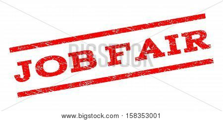 Job Fair watermark stamp. Text tag between parallel lines with grunge design style. Rubber seal stamp with scratched texture. Vector red color ink imprint on a white background.