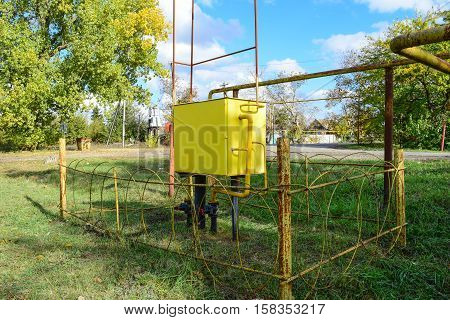 Yellow Small Gas Distribution And Regulating Natural Gas Supply Station.
