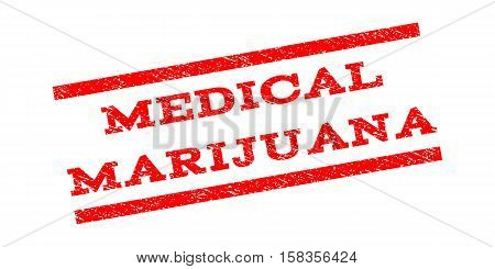 Medical Marijuana watermark stamp. Text tag between parallel lines with grunge design style. Rubber seal stamp with unclean texture. Vector red color ink imprint on a white background.