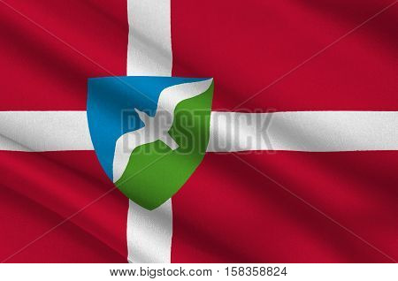 Flag of Jammerbugt is a municipality in Region Nordjylland in Denmark. 3d illustration