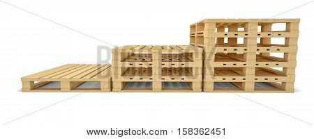 Stair of euro pallet. Front view. 3D illustration isolated on white background