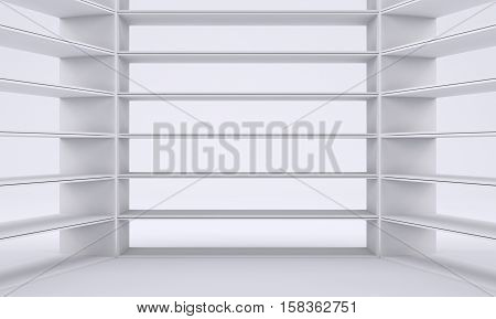 Empty shelves, blank bookcase library. Gray gradient background. 3D rendering