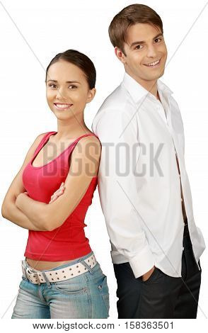 Friendly Man with Hands in Pockets and Woman with Arms Folded - Isolated