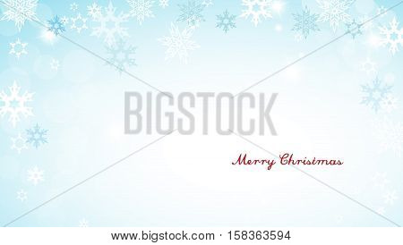 Christmas silver background with snowflakes and decent red Merry Christmas text - horizontal version