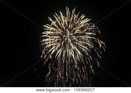 Fireworks at Lecco (Lombardy Italy) for the beginning of summer