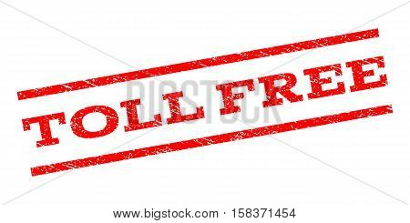 Toll Free watermark stamp. Text caption between parallel lines with grunge design style. Rubber seal stamp with scratched texture. Vector red color ink imprint on a white background.