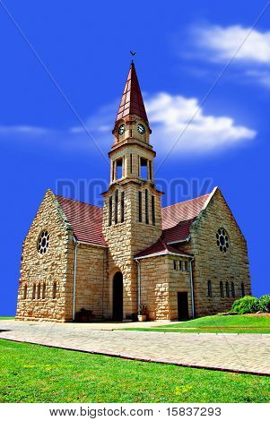 Old Church On A Hill With And Clouds