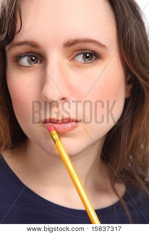 Woman With Beautiful Eyes Deep In Thought