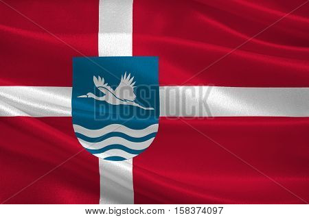Flag of Vesthimmerland is a municipality in Region Nordjylland in Denmark. 3d illustration