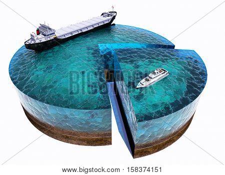 Model tanker and yachts at sea model. .3d render