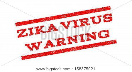 Zika Virus Warning watermark stamp. Text tag between parallel lines with grunge design style. Rubber seal stamp with scratched texture. Vector red color ink imprint on a white background.
